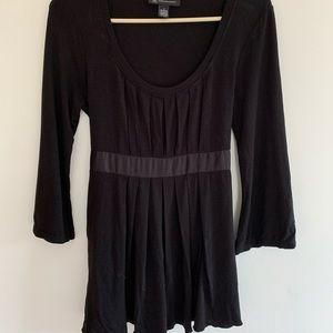 INC size S black stretch cotton blend top